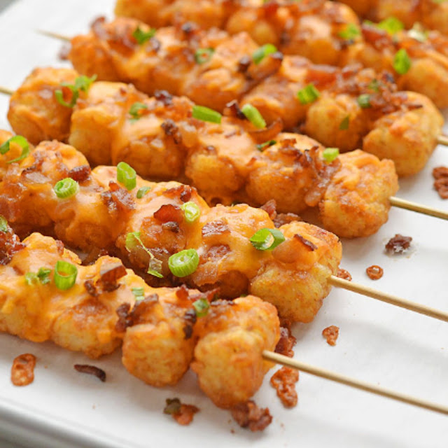 Loaded Tater Tot Skewers Recipe