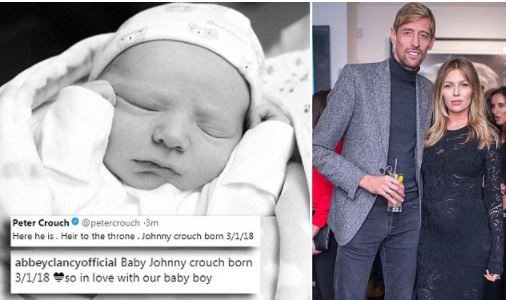 Peter Crouch and wife Abbey Clancy announces birth of their 'healthy and beautiful' third child Johnny