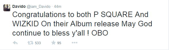 No Beef Here! Davido Congratulates Wizkid,Psquare on their Album