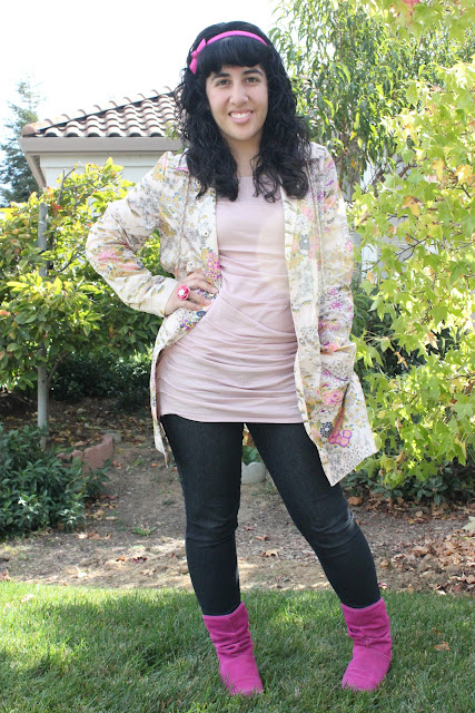 Kimono Print Raincoat Outfit
