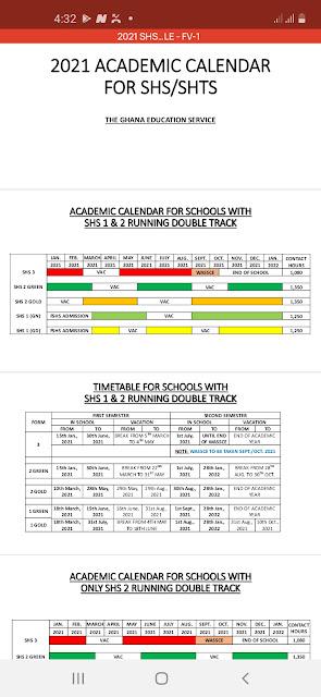 2021 Academic calendar