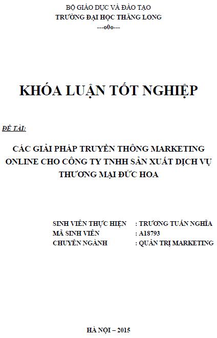 Các giải pháp truyền thông Marketing Online cho Công ty TNHH Sản xuất dịch vụ thương mại Đức Hoa