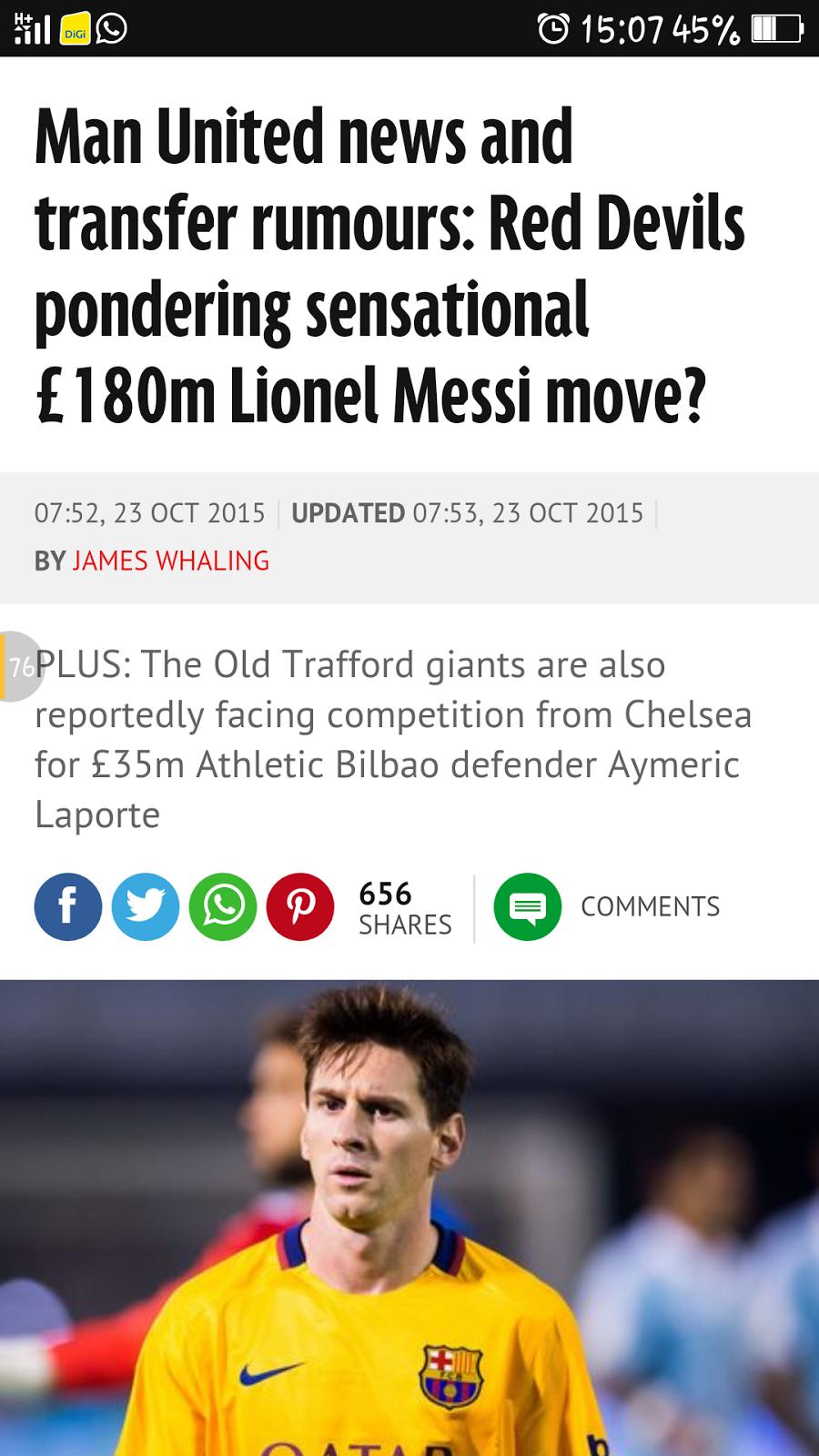 Nah Hambik Kau £180 Juta Manchester United Nak Beli Messi