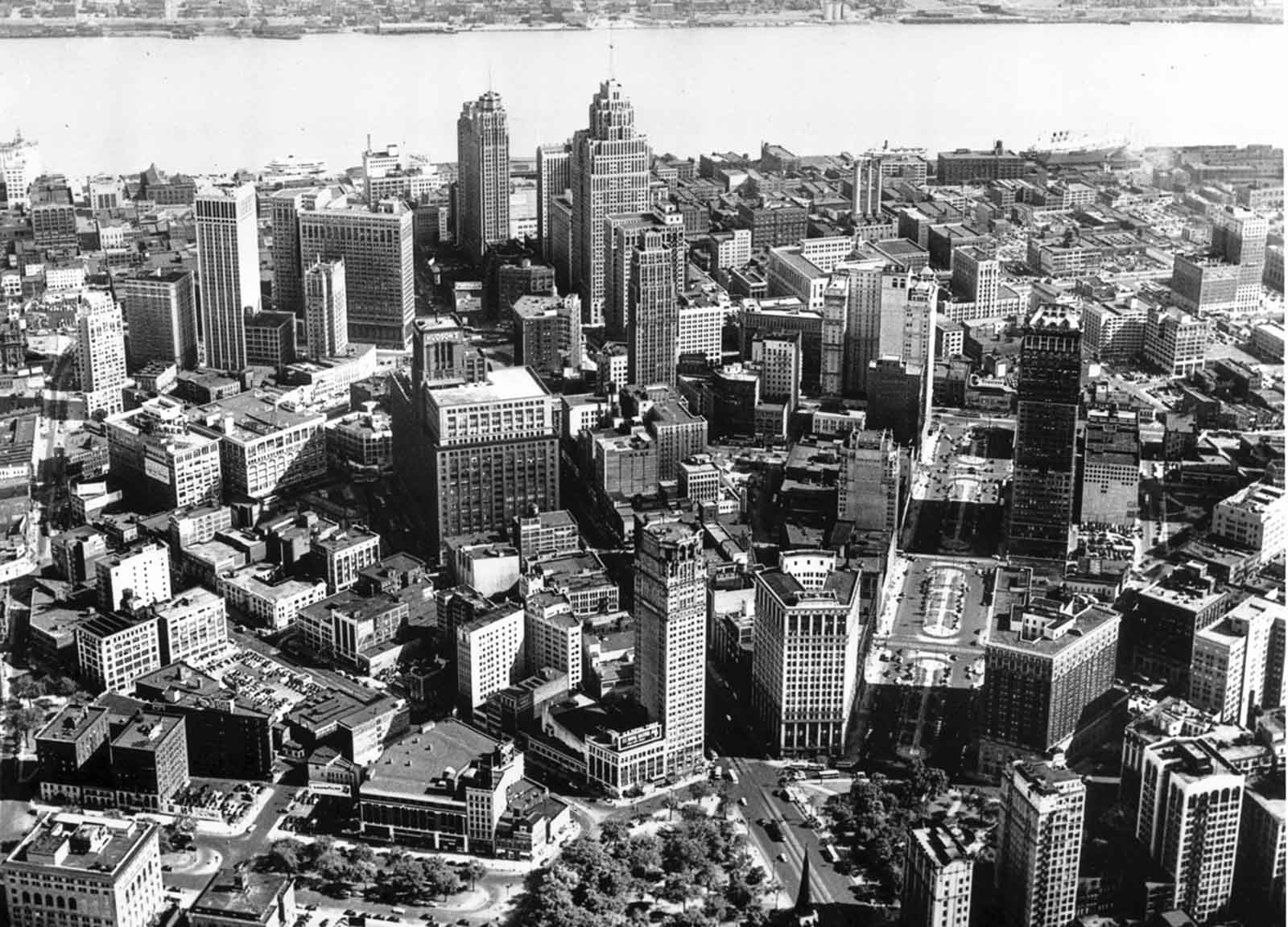 A view of Detroit, Michigan, taken by the Ford Motor Company's advertising blimp on July 15, 1947.