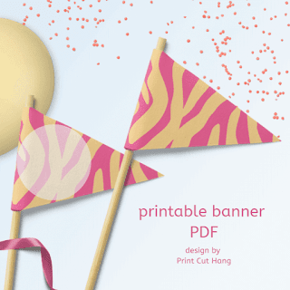 zebra pennants pink and yellow