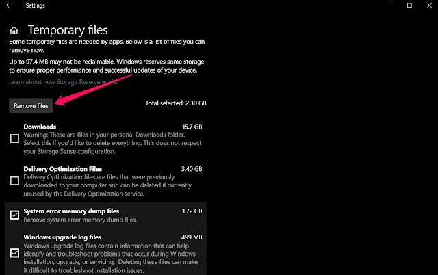Temporary Files - حذف الملفات المؤقتة في ويندوز 10