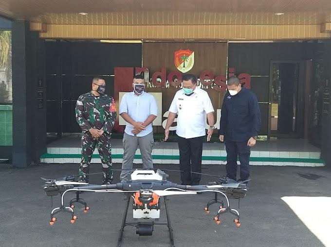 Gunakan Drone, Markas Kodim Depok Disemprot Disinfektan