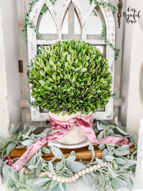 faux greens lambs ear garland preserved boxwood