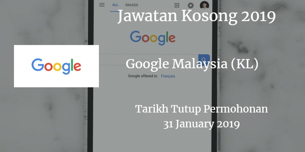 Jawatan Kosong Google Malaysia (KL) 31 January 2019