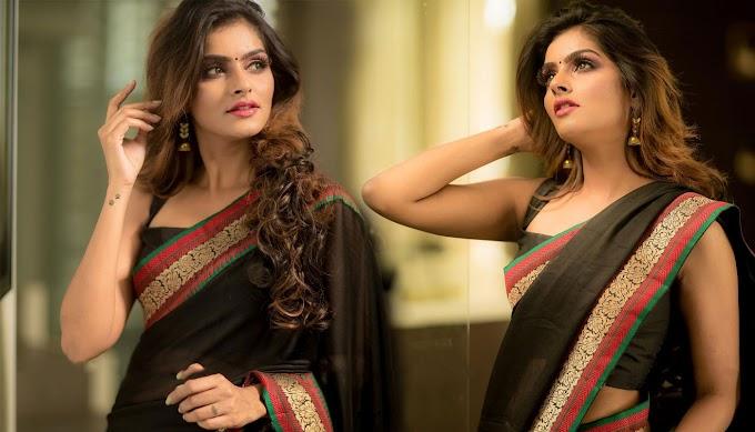 Actress Subalakshmi Rangan In Black Saree Photos