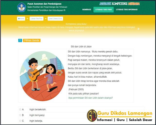 Contoh Butir Soal Asesmen Literasi Membaca Tingkat SD