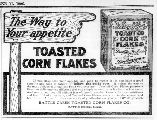 Sanitas Toasted Corn Flakes, advertising Sept. 11, 1906