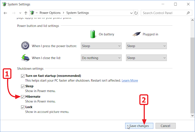 Windows 10 - Centang Hibernate