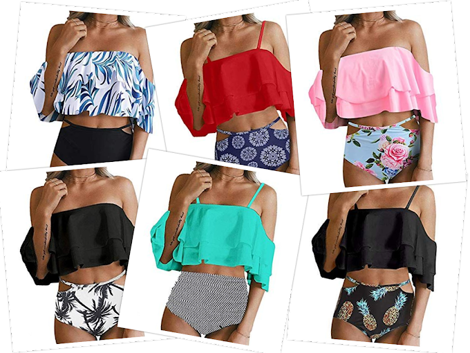 Women Two Piece Swimsuit High Waisted Off Shoulder Ruffled Bikini Set
