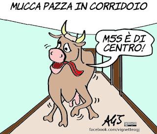 bersani, m5s, alleanze, centristi, mucca pazza, mucca in corridoio, vignetta, satira