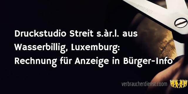 Titel: Druckstudio Streit s.àr.l. aus Wasserbillig, Luxemburg: Rechnung für Anzeige in Bürger-Info