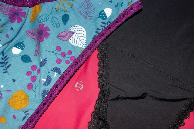 Close up of 3 pairs of periods pants including a handmade pair from Etsy, Modibodi seamless and Moondog