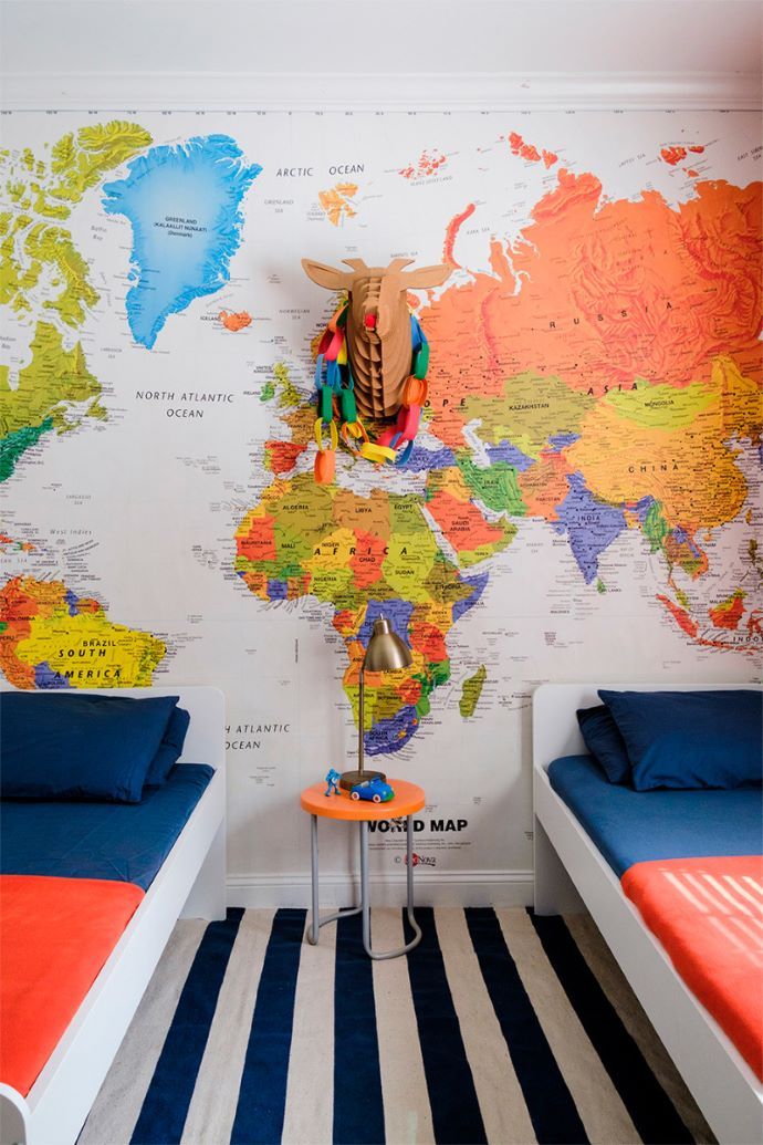 Kid's room with map mural