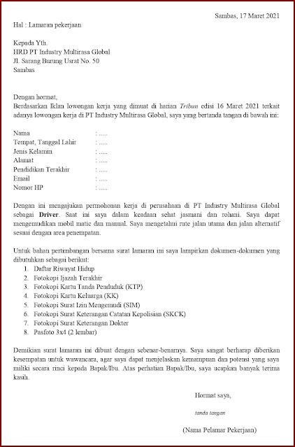 Contoh Application Letter Untuk Driver Kantor (Fresh Graduate) Berdasarkan Informasi Dari Media Cetak
