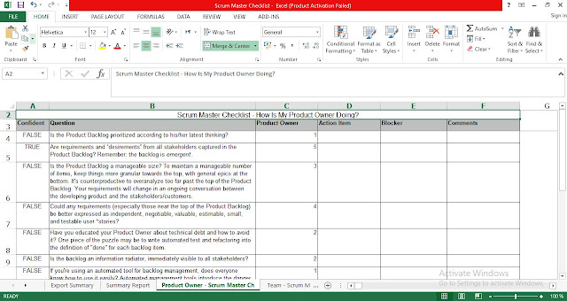 Scrum Master Checklist Template for Excel