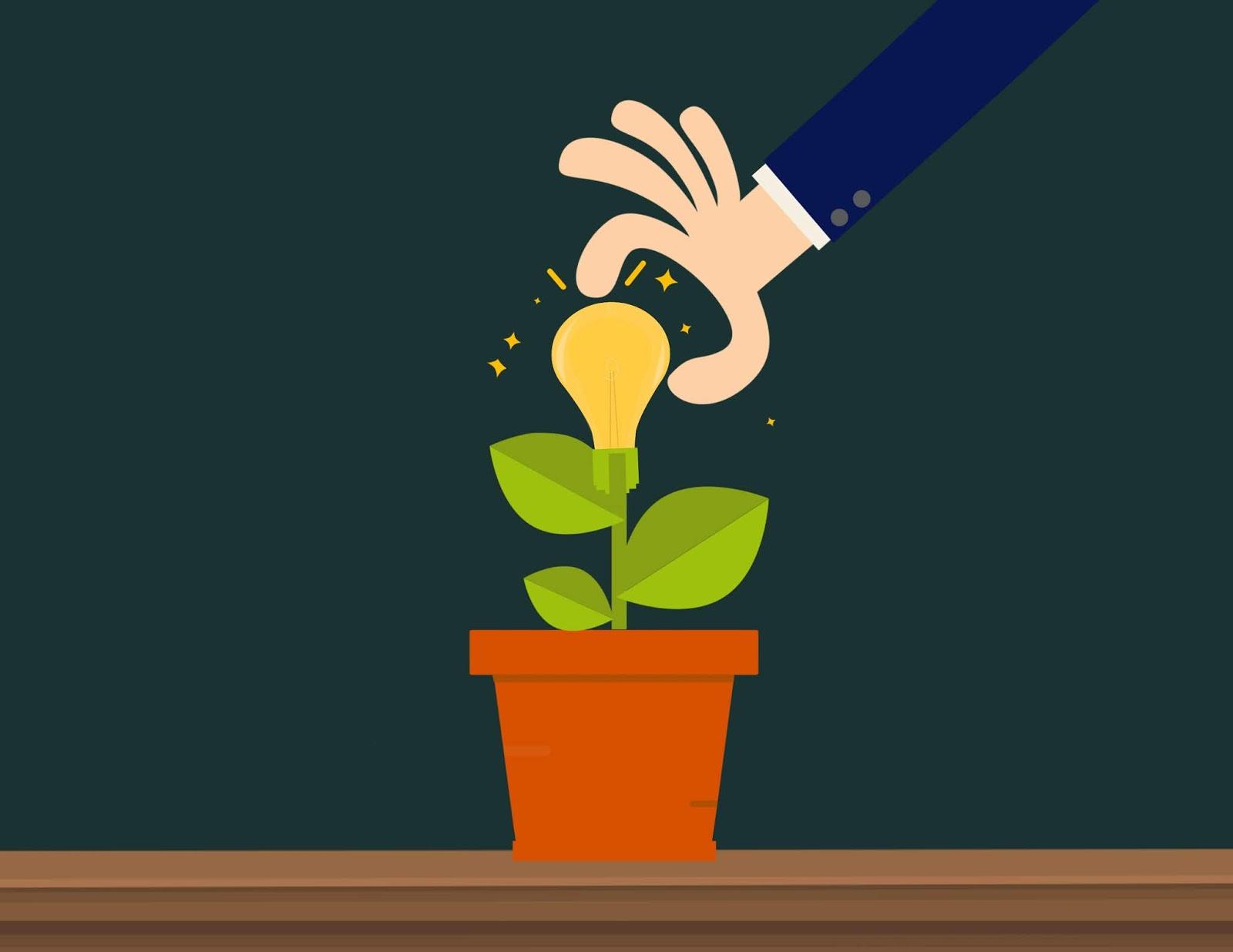 Illustration of growing new idea