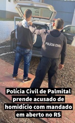 Polícia Civil de Palmital prende acusado de homicídio com mandado em aberto no RS