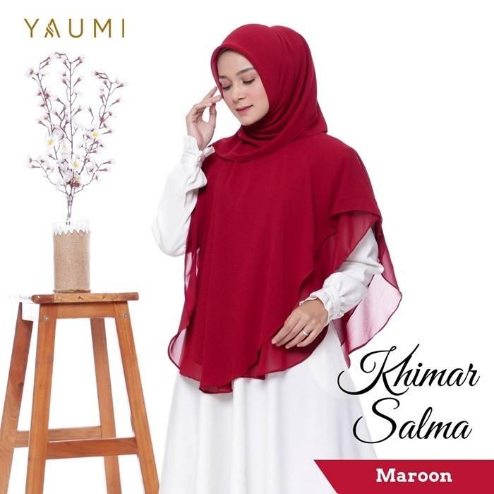 Yaumi Hijab Khimar Salma Maroon