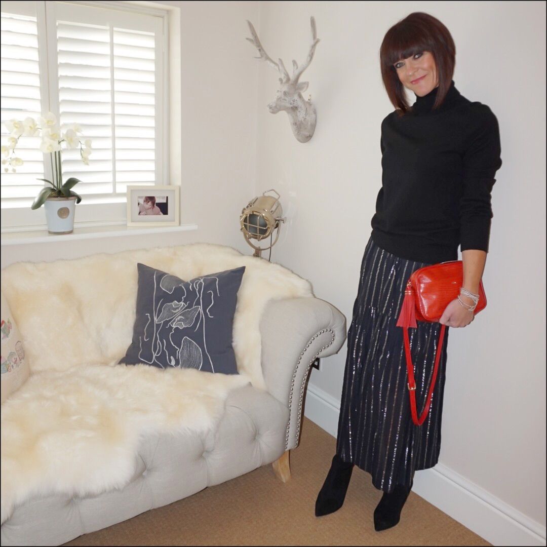 my midlife fashion, marks and spencer pure cashmere roll neck jumper, uterque mock croc cross body bag, isabel marant etoile metallic stripe maxi skirt, marks and spencer side zip stiletto heel ankle boot