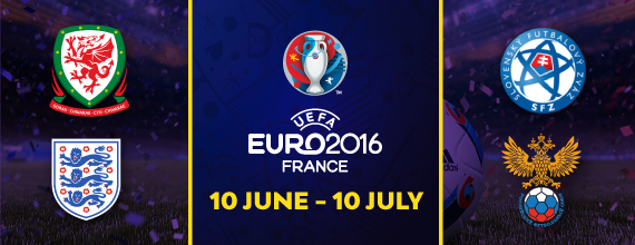 Hollywoodbets' Euro 2016 Group B Preview with Wales, England, Slovakia, and Russia Country Crests