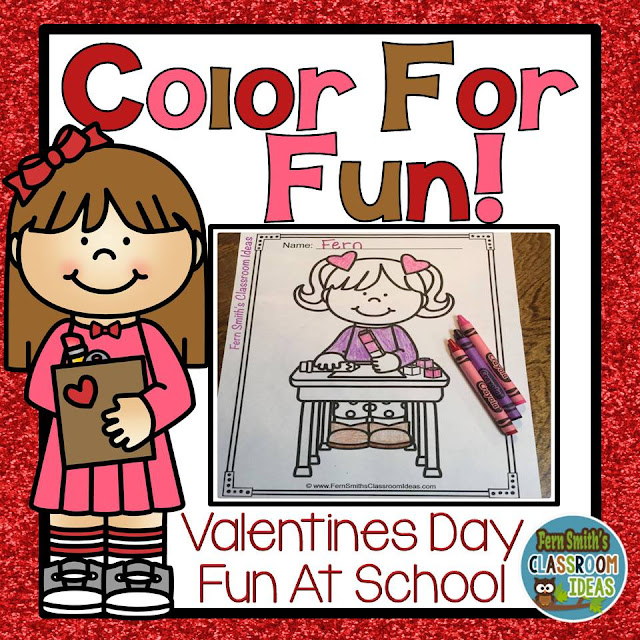 Fern Smith's Classroom Ideas Color For Fun St. Valentine's Day Fun at School Printables For Home or School at TeacherspayTeachers.