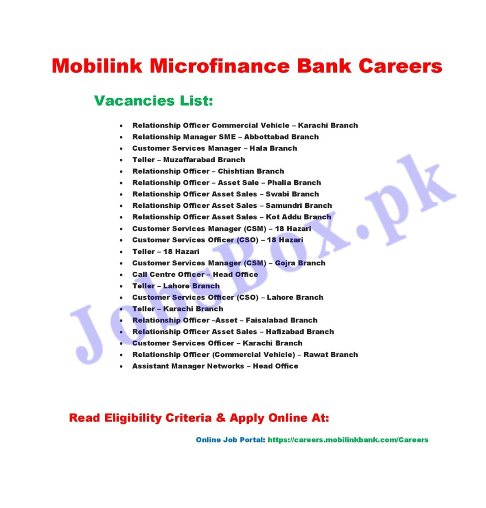 https://careers.mobilinkbank.com/Careers - Mobilink Microfinance Bank Jobs 2021 in Pakistan