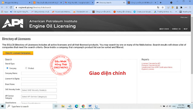 Giao diện Website trang kiểm tra tiêu chuẩn (API) dầu động cơ