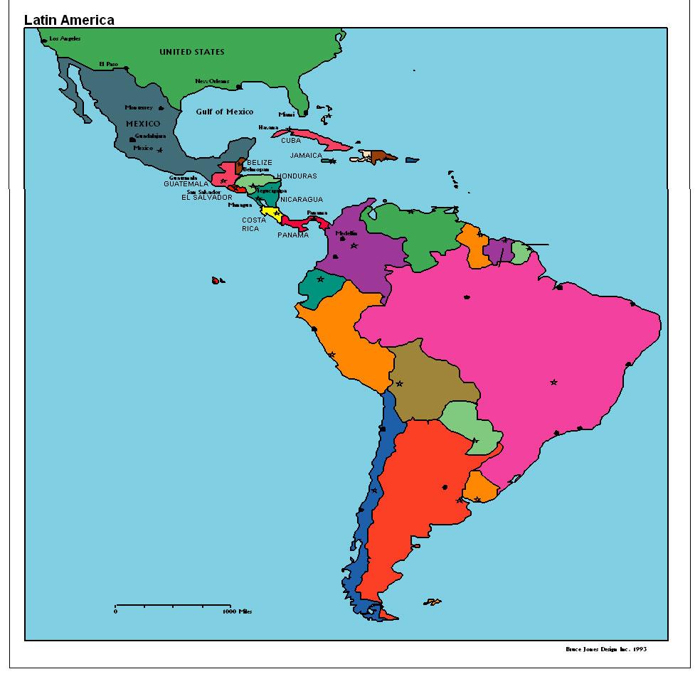 latin america map region city