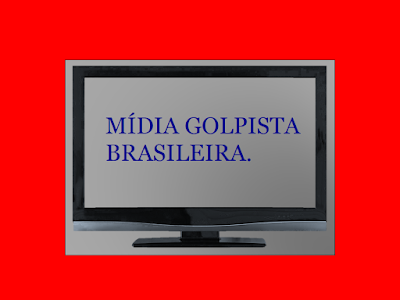 A imagem mostra uma TV e na tela a frase:mídia golpista brasileira.
