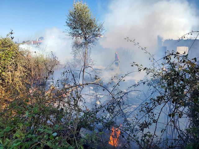 Bombeiros travam fogo em Polima e salvam oficina de carros e habitações