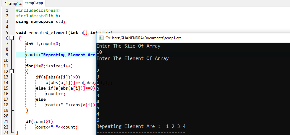 C++ Program To Find Duplicate Element In Array Time Complexity O(n), Space Complexity O(1)