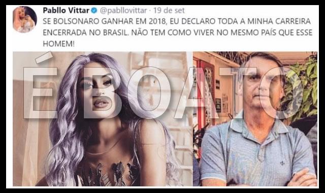 Pabllo Vittar deixará o país se Bolsonaro ganhar as eleições
