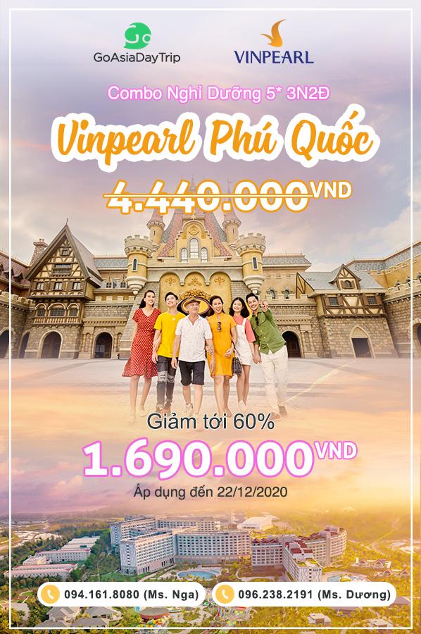 Combo nghỉ dưỡng 5 sao tại Vinpearl Phú Quốc chỉ còn 1,690K
