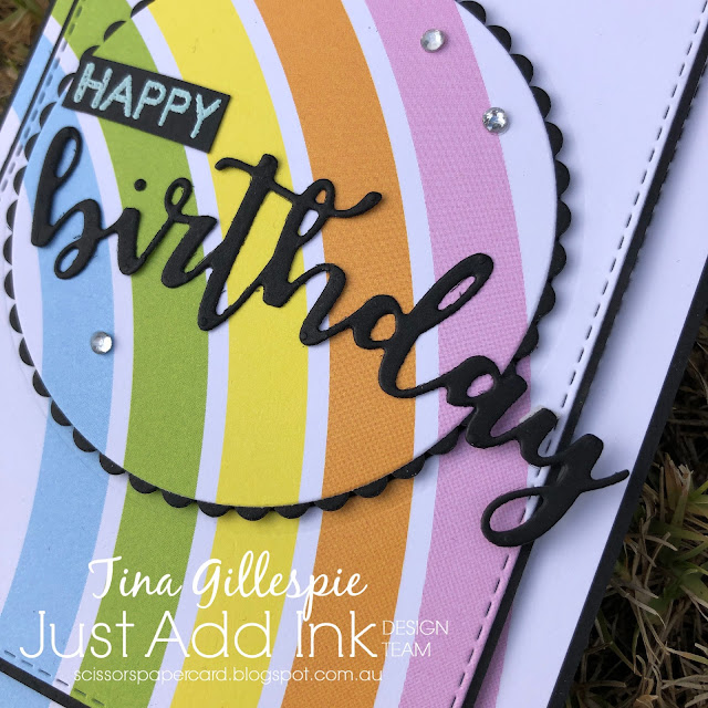 scissorspapercard, Just Add Ink, Stampin' Up!, Uniquely Creative, WaffleFlower, Sweet Sentiments Builder, Sweet Sentiments Dies, JJ's Rainbows DSP, Layering Circles Dies, Stitched Rectangles Dies