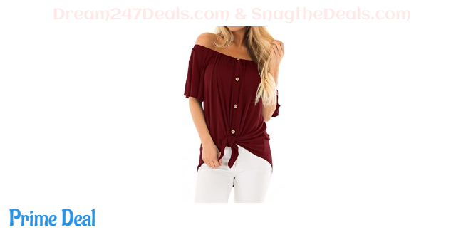 40% OFF Women's Off The Shoulder Tops Long Sleeve/Short Sleeve Button Down Shirts Tunic Blouse
