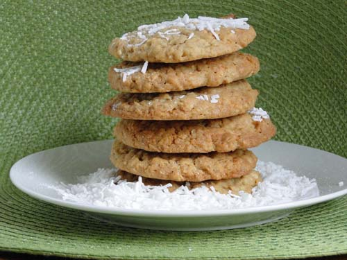 Stack of homemade Dad's Cookies. Filled with Oatmeal and coconut