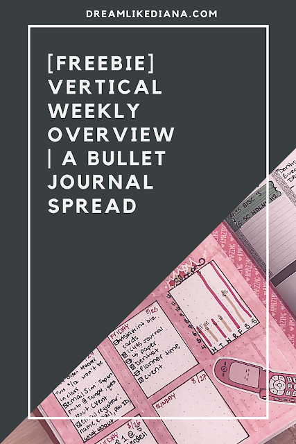 free download vertical weekly bullet journal spread pinterest pin made on canva