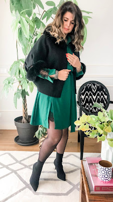 green dress with lace and black coat with fur