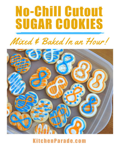 No-Chill Cutout Sugar Cookies ♥ KitchenParade.com, just mix and roll, no need to wait. Mix and bake in under an hour.