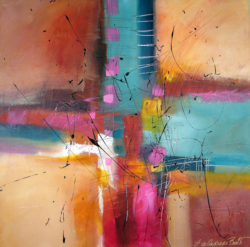 Filomena de andrade booth celebration original abstract for Abstract painting in acrylic