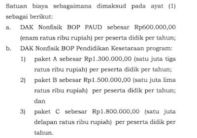 a. DAK Nonfisik BOP PAUD sebesar Rp600.000,00 (enam ratus ribu rupiah) per peserta didik per tahun; b. DAK Nonfisik BOP Pendidikan Kesetaraan program: 1) paket A sebesar Rp1.300.000,00 (satu juta tiga ratus ribu rupiah) per peserta didik per tahun; 2l paket B sebesar Rp1.500.000,0O (satu juta lima ratus ribu rupiah) per peserta didik per tahun; dan 3) paket C sebesar Rp1.800.0OO,OO (satu juta delapan ratus ribu rupiah) per peserta didik per tahun.
