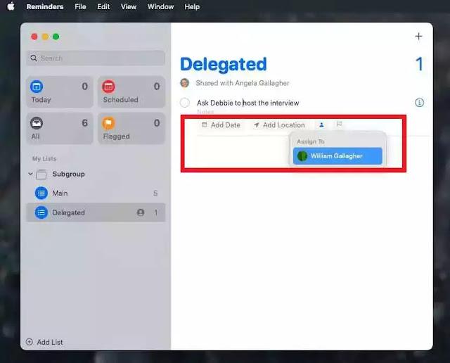 طريقة تعيين المهام لأشخاص آخرين في تطبيق Reminders في حاسوب ماك