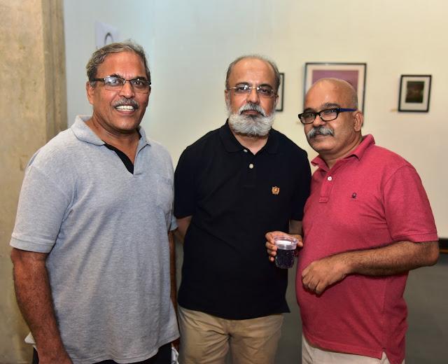 Artist Kamesh Borse, Duttatraya Apte with Chandrashekhar Bheda