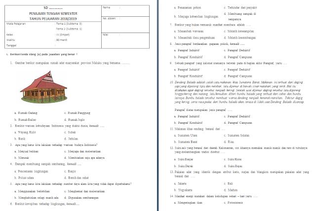 Soal UTS/PTS Kelas 4 SD/MI: Tema 1-2 Subtema 3-1