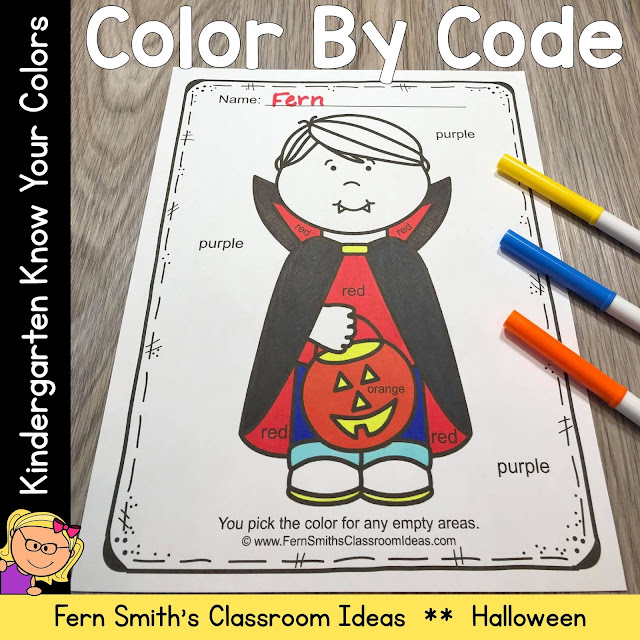 Halloween Color By Code Kindergarten Know Your Colors